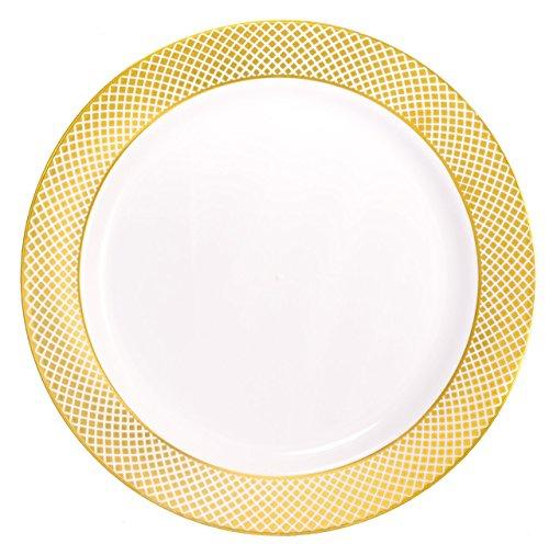 Kaya Collection - Disposable White with Gold Diamond Rim Plastic Round 75 SaladDessert Plates - 1 Case 120 Plates
