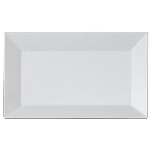 Kaya Collection - White Plastic Rectangle SaladDessert Plates - Disposable or Reusable - 2 Pack 20 Plates