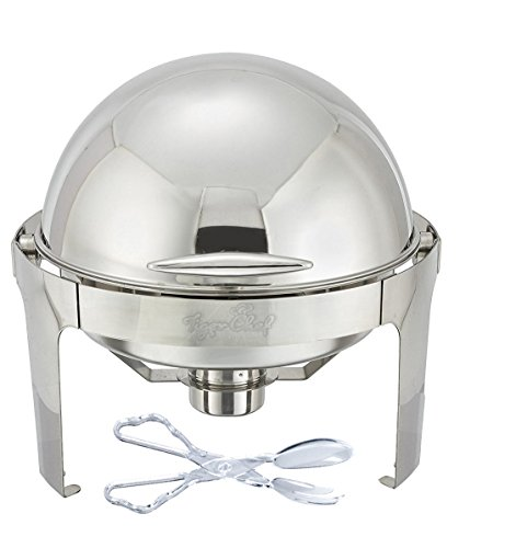 Tiger Chef Stainless Steel Round Roll Top Chafer 6 Quart Chafing Dish Set with Plastic Salad Tong