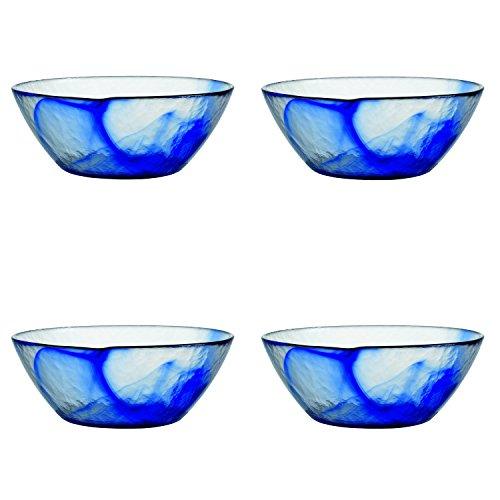 Bormioli Rocco Murano Glass Salad and Soup Serving Medium Bowl 9-Inch Blue Set of 4
