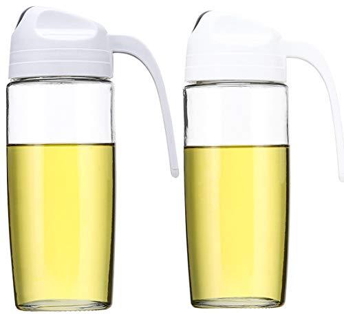 CHERISH Olive Oil Dispenser 2 Pcs Auto Flip Salad Dressing Bottle 17 OZ Oil Cruet Glass Leakproof Vinegar Dispensing Cruets Automatic Cap and Non-slip Handle White and Gray