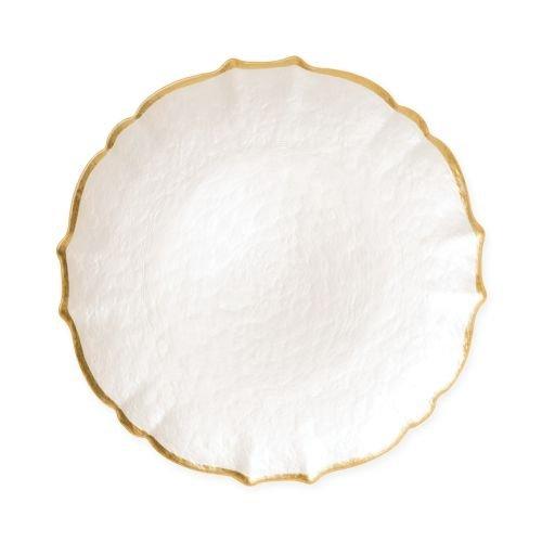 Vietri Baroque Glass White Salad Plate - Handcrafted Luxury Tableware