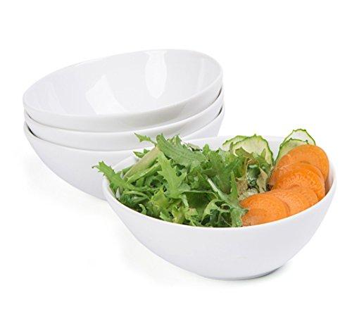 Cinf 26oz Ceramic Porcelain Bowls for Cereal Salad DessertSoup - Set of 4WhiteMicrowave Oven Freezer and Dishwasher Safe