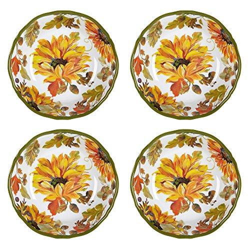 Nantucket Home Autumn Sunflowers Heavyweight Melamine Cereal Salad Bowls Set of 4