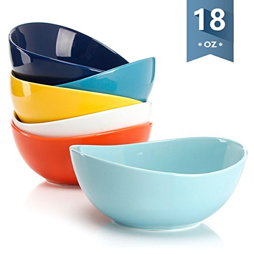 Sweese 1102 Porcelain Bowls - 18 Ounce for Cereal Salad Dessert - Set of 6 Hot Assorted Colors