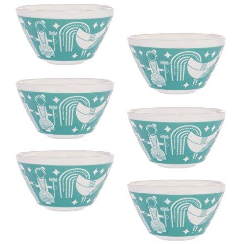 World Kitchen Set of 6 Retro White Glass Soup Cereal Salad Serving Bowls Vintage Pyrex Pattern