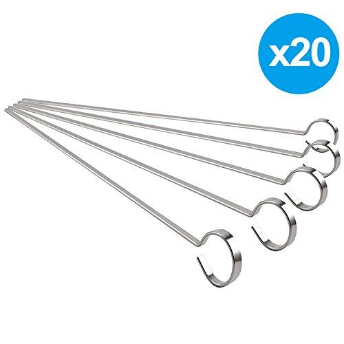 Kabob Skewers 12-in Flat Stainless Steel Skewers Grilling BBQ Stick Skewers set of 20