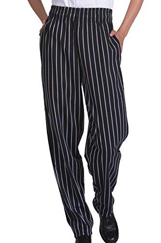 Ed Garments Mens Elastic Waist Baggy Chef Pant BLACK STRIPE Large 2000