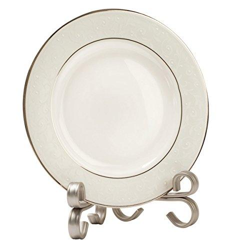 mDesign Kitchen Cookbook Holder Picture Display Easel Decorative Plate Stand - Medium Satin