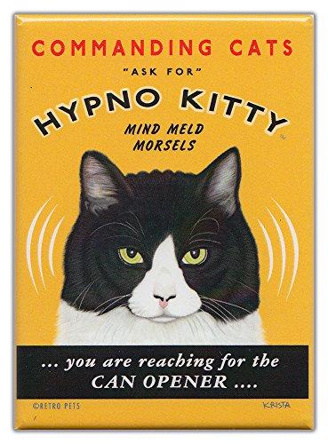 Retro Cats Refrigerator Magnets HYPNO KITTY  Vintage Advertising Art