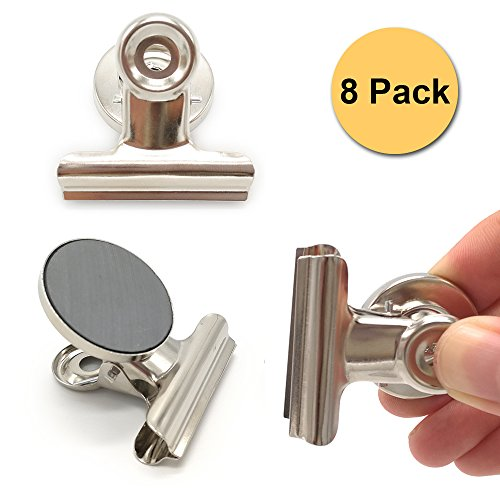 Magnetic Clips Alamic Refrigerator Magnetic Hook Clips with Surface Protectors Fridge MagnetsOffice MagnetsPhoto Magnets for House Office Use - 38mm Wide 8 Pack