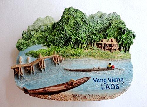 Fridge Magnets Of Place LAOS Vang Vieng 3D Handmade Resin Color Handpainted Souvenir Gift Home Decor 25 x 30 Multi-coloured