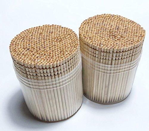 Makerstep Ornate Wooden Toothpicks with Holder 1000 pcs 2 Packs of 500 pcs