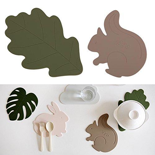 Set of 2 Silicone Hot Pad Multi-purpose Kitchen Tool Pot Holder Spoon Rest Decorative Trivet OakSquirrel
