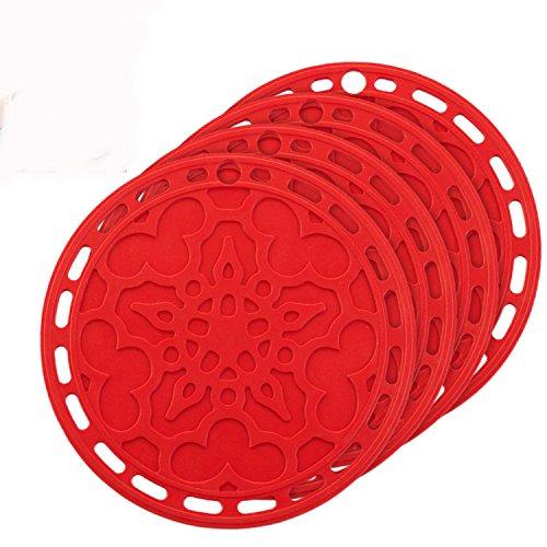 TeeNoke 6 in 1 Multi-purpose Kitchen Tool Pot Holder Splatter Guard Microwave Cover Jar Opener Decorative Trivet Red 8 Inches