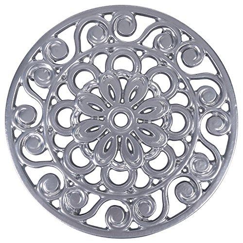 Trademark Innovations Decorative Cast Iron Metal Trivet Silver
