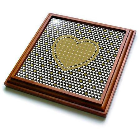 3dRose Beverly Turner Heart Design - Hearts on Hearts Black and Gold - 8x8 Trivet with 6x6 ceramic tile trv_272661_1