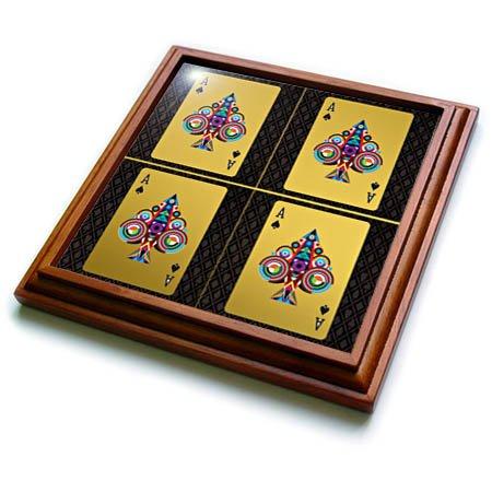 3dRose RinaPiro Patterns - Christmas Cards Christmas trees Gold - 8x8 Trivet with 6x6 ceramic tile trv_268742_1
