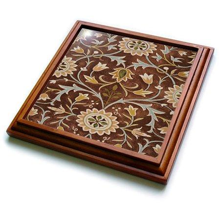 3dRose trv_243616_1 Image of William Morris Little Flower In Brown Olive Gold Trivet with Ceramic Tile 8 x 8 Natural
