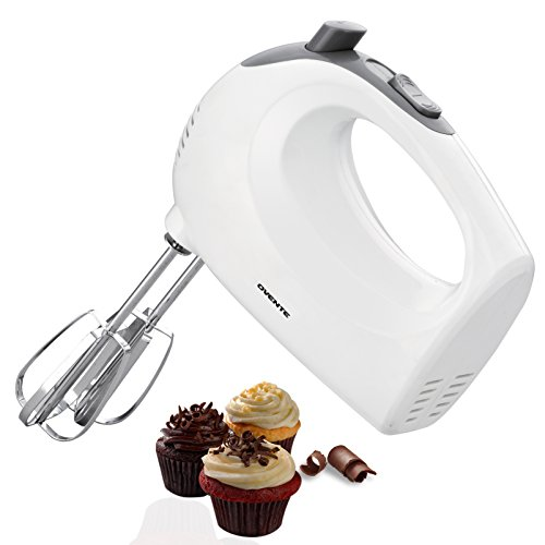 Ovente 5-Speed Ultra Power Hand Mixer with FREE Storage Case White HM151W