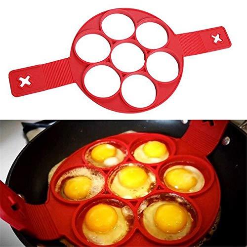 Fiesta SIBAOLU Nonstick Pancake Maker Egg Ring Maker Perfect Pancakes Easy Silicone Egg Pancake Mold Egg Tools Red