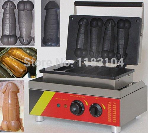 110v Electric Penis Shaped Waffle Dog Maker Machine Baker Iron Pan