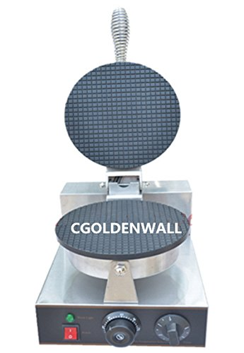CGOLDENWALL 1pcs Commercial Electric Round ice cream cone machine cone maker waffle machine Baker Iron Toaster Making Machine Round Shape