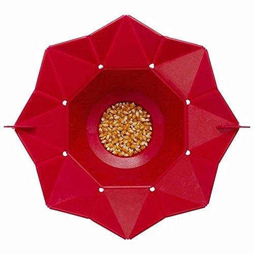 Poptop Popcorn Popper Maker DIY Silicone Microwave Popcorn Maker Fold Bucket Kitchen Tool Red 1pcs