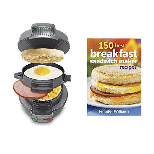 Hamilton Beach Breakfast Sandwich Maker Countertop Silver  150 Recipe Cookbook Silver
