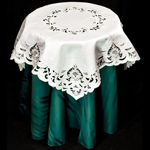 Embroidered Elegant Beige Rose Table Topper 33 X 33