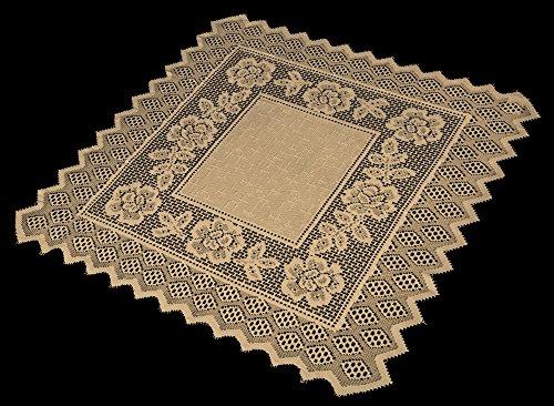 Table Topper Grega Design Brazilian Lace 29x29 Inches Ocher Light Brown Color 100 Percent Polyester