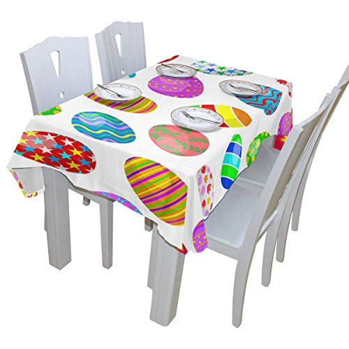 ALAZA Colorful Easter Eggs Tablecloth Polyester for Birthday Party Wedding Holiday Kitchen Dining Room Table Covers Decoration Table Cloth Square 54x54 Inch
