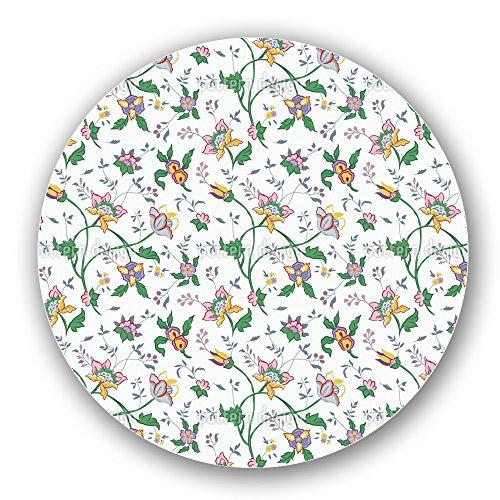 Uneekee Little Flower Fantasy White Lazy Susan Large Dark Wooden Turntable Kitchen Storage