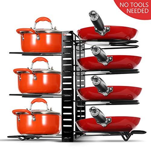 Braoses Pan Organizers 8 Tiers Pot Rack Organizers for cabinet Adjustable Pot Lid Organizers Rack Holder With 3 DIY Methods