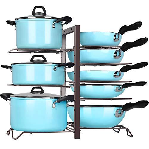 TomCare Pan Organizer Pot Rack Organizer Kitchen Cabinet Organizer Adjustable Height Pots and Pans Organizer Storage with 8 Metal Shelves DIY Pot Holder Lid Organizer Kitchen Cabinet Pantry Bronze
