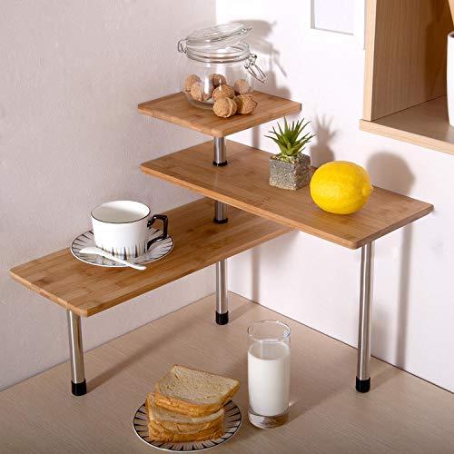 Ollieroo Bamboo Corner Shelf 3 Tier Kitchen Bathroom Counter Top Organizer Shelf Space Saving no hooks