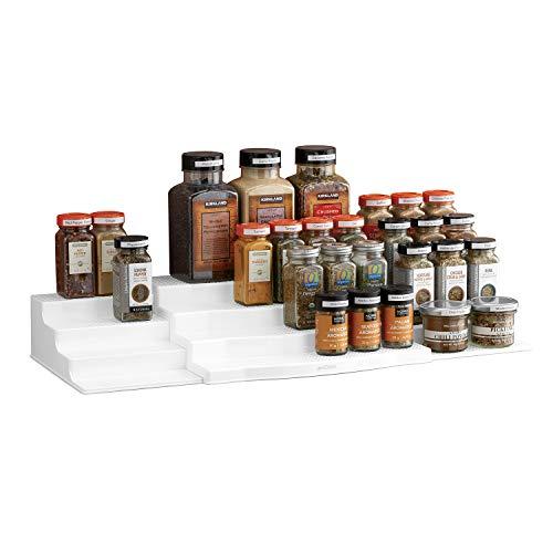 YouCopia Expandable ShelfSteps 4-Tier Spice Shelf Cabinet Organizer Set White