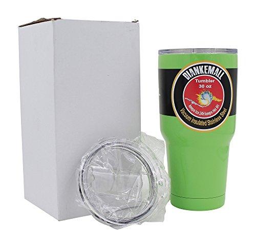 Premium Tumbler  30 Oz Stainless Steel Travel Rambler Cup  Vacuum Insulated Coffee Mug  2 Anti Splash Lids 1 Standard 1 Sliding  Works Great For Hot Beverages  Keeps Ice Longer - Green