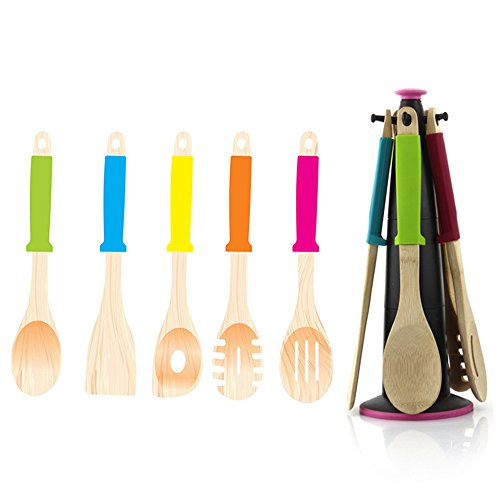 LOHOME 5 Piece Bamboo Cooking Utensils Set - Bamboo Spoon Spatula Slotted Spoon Curved Spatula Spork with Colorful Silicone Handles Coming with Free Charge Utensil Holder