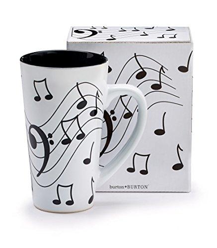 Burton Burton Musical Note Jazz Ceramic CoffeeTea Travel Mug Bass Clef 16 oz