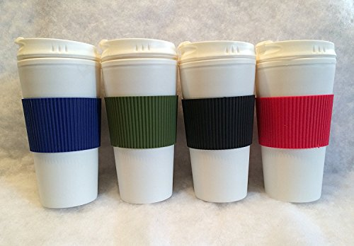 Set of 4 Double Wall Coffee or Tea Travel Mugs with Colorful Wraps and Tab Lids 16 oz -Blue Red Black Green