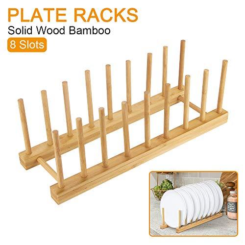 Powstro K Bamboo Plate Racks Solid Wooded Dish Rack Multipurpose Shelves for Kitchen Pot Lid Dish Drain Book 8 Slots