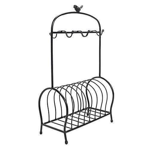 SAILSWORD Kitchen Dish Rack Creative Birdcage Shape Dish Plate Storage Organizer and Drying Rack Black