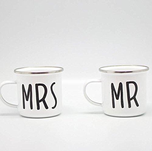 Sass Belle Mr Mrs - Enamel Metal Mug WeddingCouple For GlampingCamping Outdoor And Gardening 2 Mugs Set