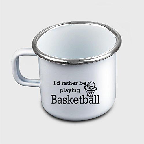 Style In Print ID Rather Be Playing Basketball Coffee Tea Metal Enamel Camping Mug