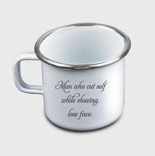Style In Print Man Cut Self While Shaving Lose Face Coffee Tea Metal Enamel Camping Mug