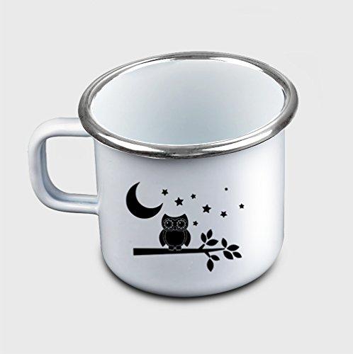 Style In Print Owl Under The Moon Coffee Tea Metal Enamel Camping Mug