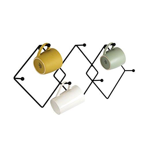 Wall Mounted Geometric Argyle-Pattern 7-Hook Metal Mug Storage Rack Kitchen Cup Organizer Black