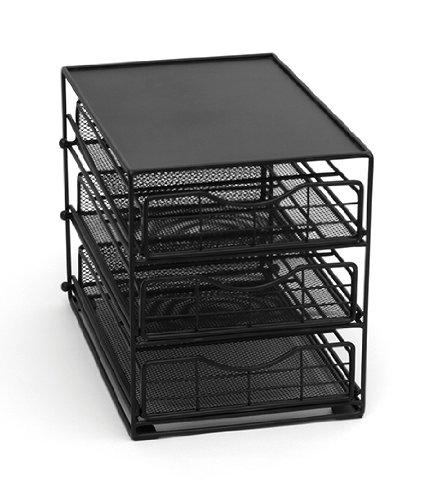 Lipper International 8670 In-Cabinet Coffee Pod Drawer 3-Tier 45-Pod Capacity Black
