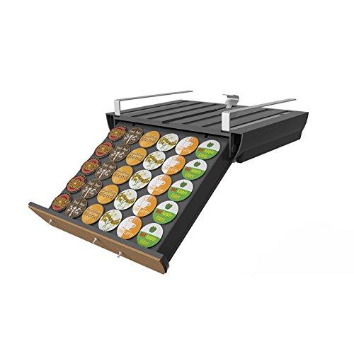 Mind Reader UCBRD-BLK Slider Under CupboardIn Cupboard Coffee Pod Storage Drawer Black with Cork Front